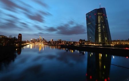 The European Central Bank (ECB) headquarters is pictured during sunset as the spread of the coronavirus disease (COVID-19) continues in Frankfurt, Germany, March 21, 2021. REUTERS/Kai Pfaffenbach