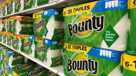 Bounty paper towels made by Procter and Gamble are shown for sale in Encinitas, California, U.S., April 19, 2021. REUTERS/Mike Blake