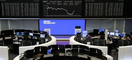 The German share price index DAX graph is pictured at the stock exchange in Frankfurt, Germany, April 23, 2021. REUTERS/Staff