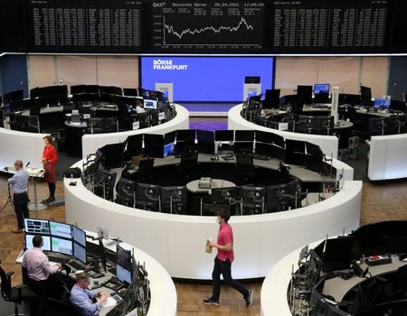 The German share price index DAX graph is pictured at the stock exchange in Frankfurt, Germany, April 28, 2021. REUTERS/Staff