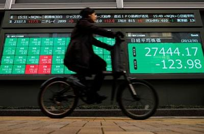 A man rides a bicycle past a screen displaying Nikkei share average and stock indexes outside a brokerage, amid the coronavirus disease (COVID-19) outbreak, in Tokyo, Japan December 30, 2020. REUTERS/Issei Kato