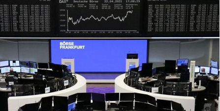 The German share price index DAX graph is pictured at the stock exchange in Frankfurt, Germany, April 22, 2021. REUTERS/Staff
