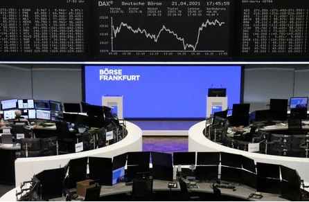 FILE PHOTO: The German share price index DAX graph is pictured at the stock exchange in Frankfurt, Germany, April 21, 2021. REUTERS/Staff