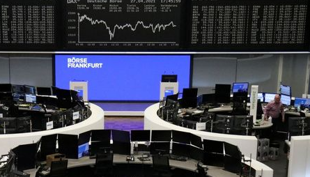The German share price index DAX graph is pictured at the stock exchange in Frankfurt, Germany, April 27, 2021. REUTERS/Staff