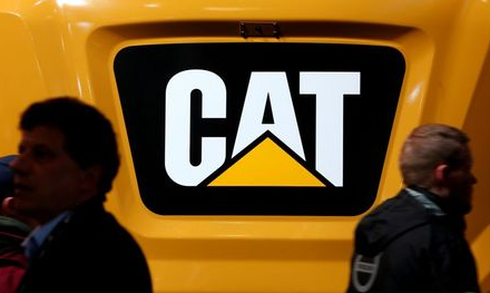 Caterpillar logo is pictured at the;Bauma's; Trade Fair for Construction Machinery, Building Material Machines, Mining Machines, Construction Vehicles and Construction Equipment in Munich, Germany, April 8, 2019. REUTERS/Michaela Rehle
