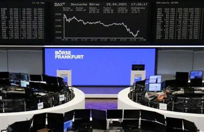 The German share price index DAX graph is pictured at the stock exchange in Frankfurt, Germany, April 29, 2021. REUTERS/Staff