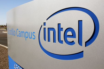 The logo for the Intel Corporation is seen on a sign outside the Fab 42 microprocessor manufacturing site in Chandler, Arizona, U.S., October 2, 2020. REUTERS/Nathan Frandino