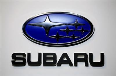 FILE PHOTO: A Subaru logo is displayed at the Tokyo Motor Show, in Tokyo, Japan October 23, 2019. REUTERS/Soe Zeya Tun/File Photo