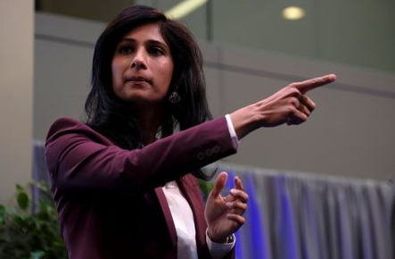 International Monetary Fund Chief Economist Gita Gopinath takes questions at the annual meetings of the IMF and World Bank in Washington, U.S., October 18, 2019. REUTERS/James Lawler Duggan