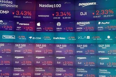 Trading information is displayed on the screens at the Nasdaq Market Site in Times Square, New York City, New York, U.S., March 6, 2020. REUTERS/Andrew Kelly
