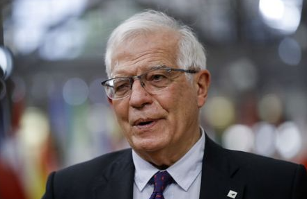European Union foreign policy chief Josep Borrell arrives for a face-to-face EU summit in Brussels, May 24, 2021. Olivier Hoslet/Pool via REUTERS
