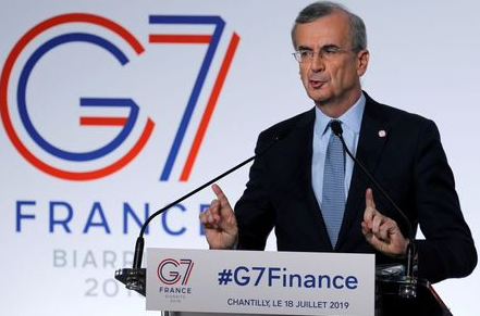 Governor of the Bank of France Francois Villeroy de Galhau speaks during a news conference at the G7 finance ministers and central bank governors meeting in Chantilly, near Paris, France, July 18, 2019. REUTERS/Pascal Rossignol