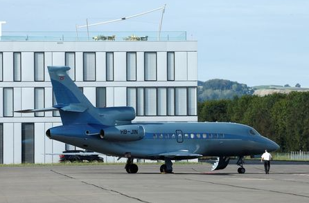 A Dassault Falcon 900EX business jet aircraft is pictured at the airport in Payerne, Switzerland, August 25, 2020. Picture taken August 25, 2020. REUTERS/Denis Balibouse