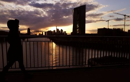 The European Central Bank (ECB) and the skyline with its financial district are photographed during sunset as the spread of the coronavirus disease (COVID-19) continues in Frankfurt, Germany, April 13, 2021. REUTERS/Kai Pfaffenbach