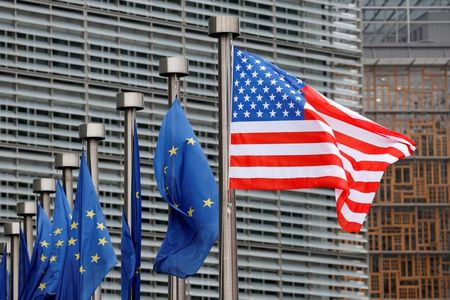 FILE PHOTO: U.S. and European Union flags are pictured in Brussels, Belgium February 20, 2017. REUTERS/Francois Lenoir