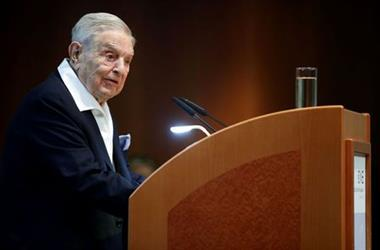 FILE PHOTO: Billionaire investor George Soros speaks to the audience at the Schumpeter Award in Vienna, Austria June 21, 2019. REUTERS/Lisi Niesner
