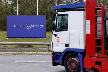 A view shows the logo of Stellantis at the entrance of the company's factory in Hordain, France, April 12, 2021. REUTERS/Pascal Rossignol