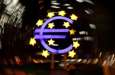 The euro sign is photographed in front of the former head quarter of the European Central Bank in Frankfurt, Germany, April 9, 2019. Picture is taken on slow shutter speed while the camera was moved. REUTERS/Kai Pfaffenbach