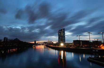 The headquarters of the European Central Bank (ECB) is seen during sunset as the spread of the coronavirus disease (COVID-19) continues in Frankfurt, Germany, March 26, 2021. REUTERS/Kai Pfaffenbach