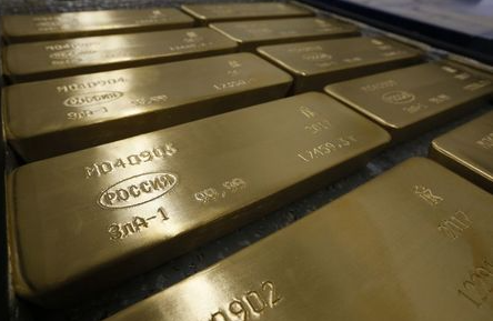 A view shows ingots of 99.99 percent pure gold at the Krastsvetmet non-ferrous metals plant, one of the world's largest producers in the precious metals industry, in the Siberian city of Krasnoyarsk, Russia September 22, 2017. REUTERS/Ilya Naymushin