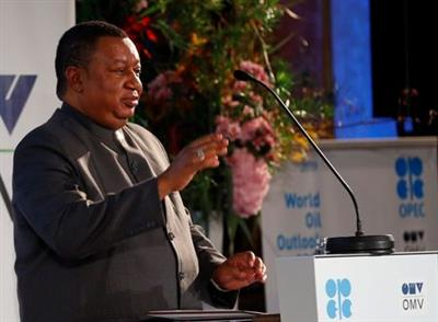 OPEC Secretary General Mohammad Barkindo delivers his speech during the presentation of the World Oil Outlook in Vienna, Austria November 5, 2019. REUTERS/Leonhard Foeger