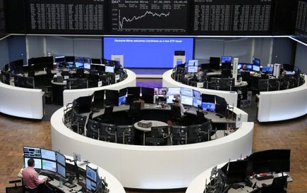 FILE PHOTO: The German share price index DAX graph is pictured at the stock exchange in Frankfurt, Germany, June 7, 2021. REUTERS/Staff