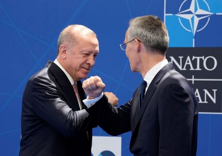 NATO Secretary General Jens Stoltenberg welcomes Turkey's President Tayyip Erdogan during the NATO summit at the Alliance's headquarters, in Brussels, Belgium, June 14, 2021. Francois Mori/Pool via REUTERS