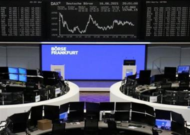 The German share price index DAX graph is pictured at the stock exchange in Frankfurt, Germany, June 16, 2021. REUTERS/Staff/File photo