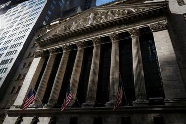 The front facade of the New York Stock Exchange (NYSE) is seen in New York, U.S., February 16, 2021. REUTERS/Brendan McDermid