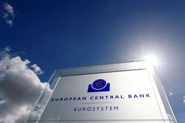 FILE PHOTO: The logo of the European Central Bank (ECB) is pictured outside its headquarters in Frankfurt, Germany, April 26, 2018. REUTERS/Kai Pfaffenbach//File Photo