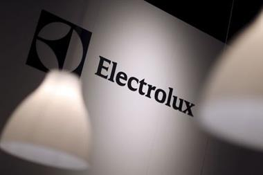 The Electrolux logo is seen during the IFA Electronics show in Berlin September 4, 2014. REUTERS/Hannibal Hanschke/File Photo GLOBAL BUSINESS WEEK AHEAD PACKAGE - SEARCH 'BUSINESS WEEK AHEAD APRIL 25' FOR ALL IMAGES