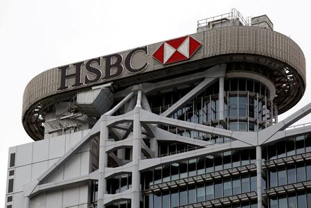 FILE PHOTO: A logo of HSBC is seen on its headquarters at the financial Central district in Hong Kong, China August 4, 2020. REUTERS/Tyrone Siu//File Photo