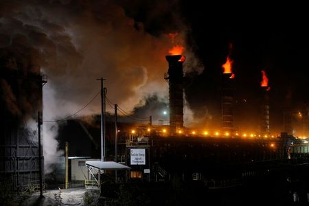 Flames and steam rise from the Suncoke Jewell cokemaking plant, which burns coal to make coke, in Oakwood, Virginia, U.S., May 19, 2018. Picture taken May 19, 2018. REUTERS/Brian Snyder