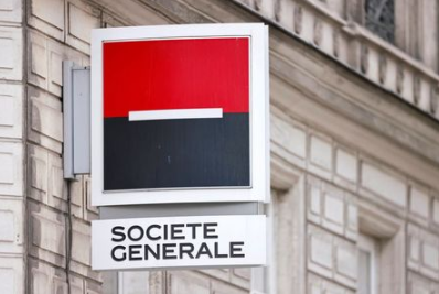 A Societe Generale sign is seen outside a bank building in Paris, France, August 1, 2021. REUTERS/Sarah Meyssonnie