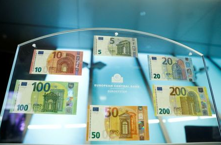 FILE PHOTO: The complete Europa series, with the new 100- and 200-euro banknotes, is displayed during a presentation at the ECB headquarters in Frankfurt, Germany, September 17, 2018. REUTERS/Kai Pfaffenbach/File Photo