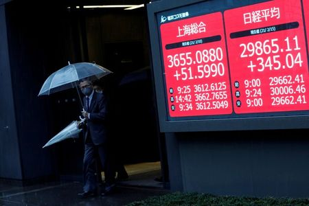 Men holding umbrellas walk near an electric board showing Nikkei index a brokerage in Tokyo, Japan February 15, 2021. REUTERS/Kim Kyung-Hoon