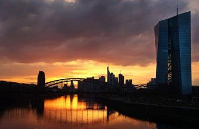 The headquarters of the European Central Bank (ECB) are seen during sunset as the spread of the coronavirus disease (COVID-19) continues in Frankfurt, Germany, March 26, 2021. REUTERS/Kai Pfaffenbach