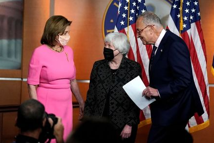 Senate Majority Leader Chuck Schumer finishes making a statement in attendance with Treasury Secretary Janet Yellen and U.S. House Speaker Nancy Pelosi (D-CA) before the start of Pelosi's weekly news conference on Capitol Hill in Washington, U.S., September 23, 2021. REUTERS/Elizabeth Frantz