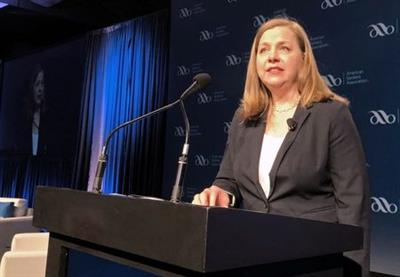 U.S. Federal Reserve Governor Michelle Bowman gives her first public remarks as a Fed policymaker at an American Bankers Association conference in San Diego, California, U.S., February 11 2019. REUTERS/Ann Saphir