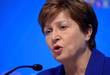 FILE PHOTO: International Monetary Fund (IMF) Managing Director Kristalina Georgieva makes remarks during a closing news conference for the International Monetary Finance Committee, during the IMF and World Bank's 2019 Annual Meetings of finance ministers and bank governors, in Washington, U.S., October 19, 2019. REUTERS/Mike Theiler/File Photo