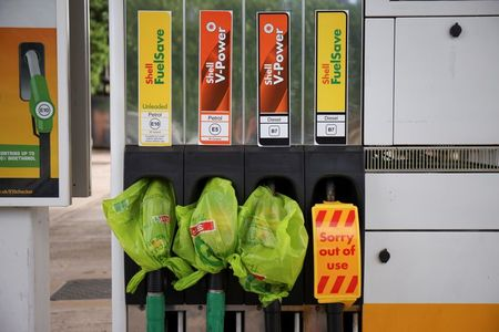 A Shell petrol station that has run out of fuel is seen in Northwich, Britain, May 27, 2021. REUTERS/Molly Darlington