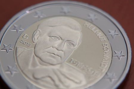 Presentation of a new 2 Euro commemorative coin of former German Chancellor Helmut Schmidt in Berlin, Germany, February 2, 2018. REUTERS/Christian Mang