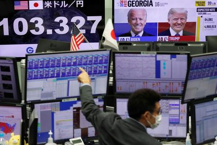 An employee of the foreign exchange trading company wearing protective face mask, works in front of monitors showing the Japanese yen exchange rate against the U.S. dollar and news on the U.S. presidential election at a dealing room in Tokyo, Japan November 9, 2020. REUTERS/Issei Kato