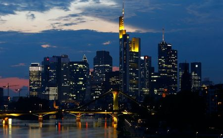 File photo of the skyline of the banking district in Frankfurt, September 18, 2014. The European Central Bank will release the results of Europe's most comprehensive review of its banks' health on October 26, 2014. The outcome will give the clearest picture yet on the state of the European banking sector, which was pummeled during the financial crisis. REUTERS/Kai Pfaffenbach /Files (GERMANY - Tags: CITYSCAPE BUSINESS)