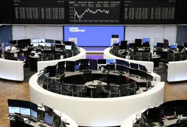 The German share price index DAX graph is pictured at the stock exchange in Frankfurt, Germany, October 5, 2021. REUTERS/Staff