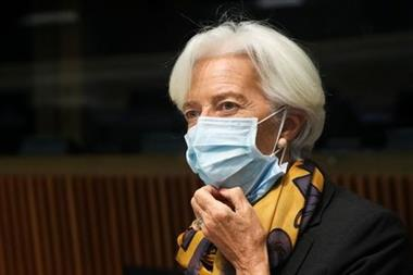 President of the European Central Bank Christine Lagarde looks on as she attends a Euro zone finance ministers meeting in Luxembourg, October 4, 2021. REUTERS/Yves Herman