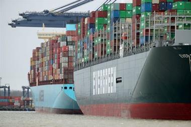 FILE PHOTO: A view of the Port of Felixstowe, as containers are seen aboard the container ship Ever Greet, in Felixstowe, Britain, January 28, 2021. Picture taken January 28, 2021. REUTERS/Peter Cziborra//File Photo