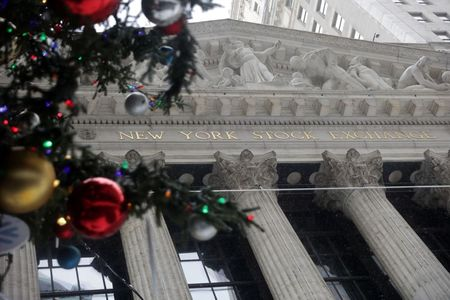 View of the NYSE building and tree decorations in the Financial District of Manhattan, New York City, New York, U.S., December 17, 2020. REUTERS/Jeenah Moon