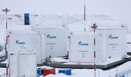 A view shows fuel tanks at Bovanenkovo airport near a gas processing facility, operated by Gazprom company, on the Arctic Yamal peninsula, Russia May 21, 2019. Picture taken May 21, 2019. REUTERS/Maxim Shemetov