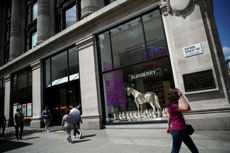 A Burberry display is pictured at Selfridges department store, amid the spread of the coronavirus disease (COVID-19) in Oxford Street in London, Britain June 14, 2020. REUTERS/Hannah McKay